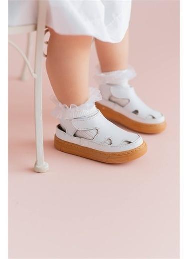 First Step Hakiki Deri Çocuk Sandalet -D-466 Beyaz